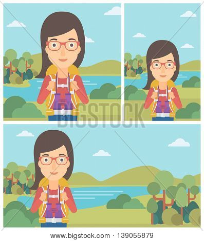 Young woman with backpack walking in the mountains. Female backpacker with binoculars. Female traveler hiking in mountains. Vector flat design illustration. Square, horizontal, vertical layouts.