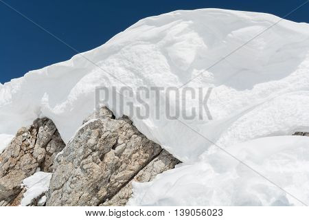 Detail of a shrouded snow mountain peak of the Alps