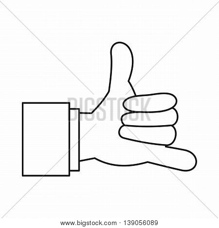 Call me gesture icon in outline style isolated vector illustration
