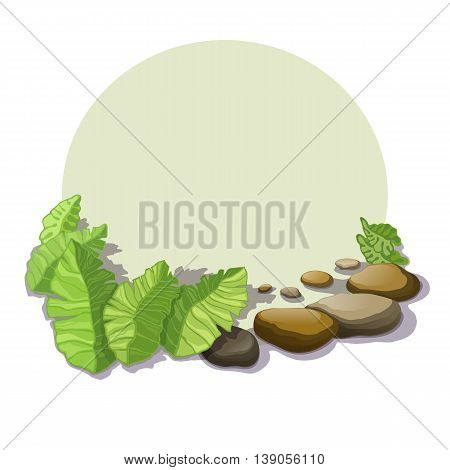 Tropical foliage and stone boulders with shadow isolated on a circle background.