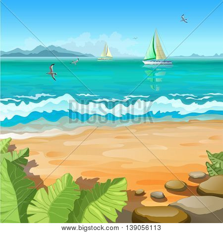 Marine tropical landscape. Sailboats and gull on the high seas. Stones and tropical plants.