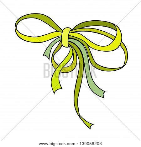 Green small bow. Holiday symbol. Outlined decorative element. Vintage tie bow. Vector illustration.