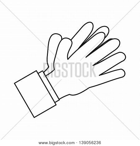 Clapping applauding hands icon in outline style isolated vector illustration
