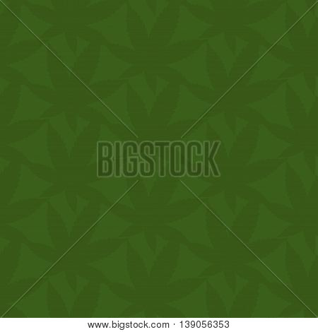 Seamless Pattern Of Abstract Leaves Of Marijuana. Vector Illustration Background