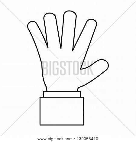 Hand showing five fingers icon in outline style isolated vector illustration