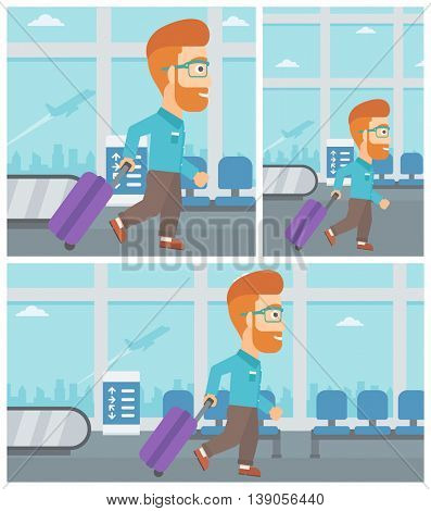 Young hipster man with a suitcase walking at the airport. Vector flat design illustration. Square, horizontal, vertical layouts.