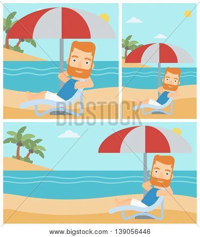 Hipster man with the beard sitting in a chaise longue on the beach. Young man relaxing while sitting under umbrella on the beach. Vector flat design illustration. Square, horizontal, vertical layouts.