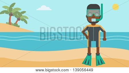 An african-american man in diving suit, flippers, mask and tube standing on the beach. Male scuba diver on the beach. Man enjoying snorkeling. Vector flat design illustration. Horizontal layout.
