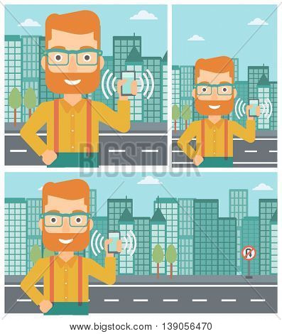 Hipster man holding ringing mobile phone on a city background. Man answering a phone call. Man with ringing phone in hand. Vector flat design illustration. Square, horizontal, vertical layouts.