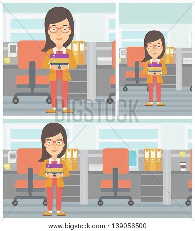 Young business woman standing with pile of folders in the office. Business woman carrying stack of folders. Vector flat design illustration. Square, horizontal, vertical layouts.