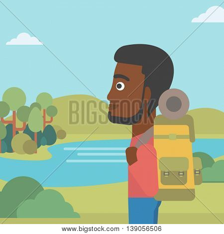 An african-american man with backpack enjoying the view of landscape with mountains and lake. Vector flat design illustration. Square layout.