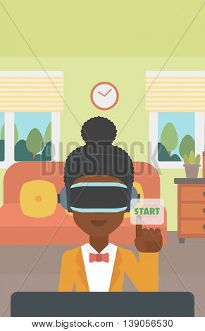 An african-american woman wearing a virtual reality headset and playing video game. Woman in a virtual reality headset pushing virtual button start. Vector flat design illustration. Vertical layout.