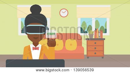 An african-american woman wearing a virtual reality headset and playing video game. Woman in a virtual reality headset pushing virtual button start. Vector flat design illustration. Horizontal layout.