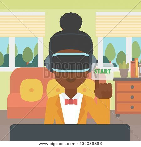 An african-american woman wearing a virtual reality headset and playing video game. Woman in a virtual reality headset pushing virtual button start. Vector flat design illustration. Square layout.