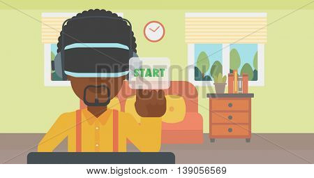 An african-american man wearing virtual reality headset and playing video game. Man in virtual reality headset pushing virtual button start. Vector flat design illustration. Horizontal layout.