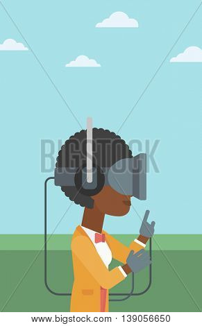 An african-american woman wearing a virtual reality headset. Woman playing video games outdoor. Woman wearing gamer gloves. Vector flat design illustration. Vertical layout.