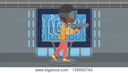 An african-american woman wearing virtual reality headset. Woman playing video game while standing on a treadmill with a gun in hands. Vector flat design illustration. Horizontal layout.