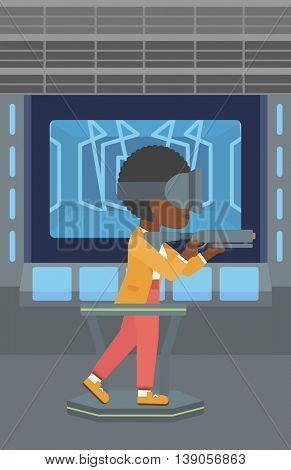 An african-american woman wearing virtual reality headset. Woman playing video game while standing on a treadmill with a gun in hands. Vector flat design illustration. Vertical layout.