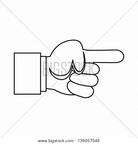 Pointing hand gesture icon in outline style isolated vector illustration