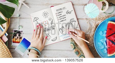 Notebook List Vacation Break Summer Beach Fun Concept