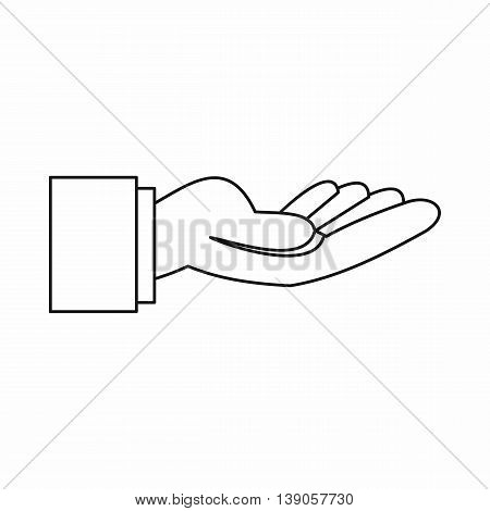 Outstretched hand gesture icon in outline style isolated vector illustration