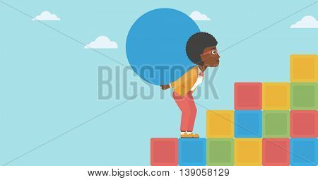 An african-american woman rising up on the colored cubes and carrying a big stone on her back. Woman with huge concrete ball going up. Vector flat design illustration. Horizontal layout.