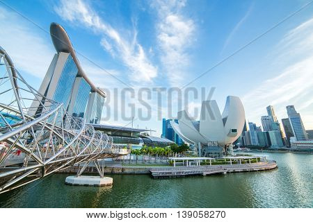 Singapore skyline and Marina bay view from the Helix bridge