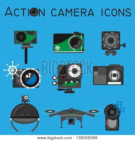 Action camera icons vector set on flat style color background