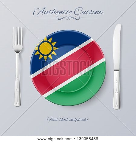Authentic Cuisine of Namibia. Plate with Namibian Flag and Cutlery