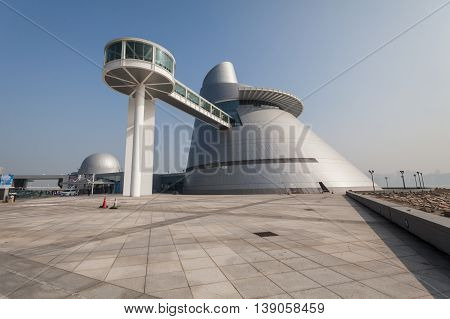 Taipa, Macau - February 2, 2015: Macao Science Center also known as Macau Science Center is a science center in Macau, China. The project to build the science center was conceived in 2001 and completed in 2009