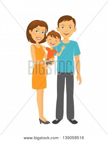 Mother and father with baby. Happy family. Parents with kid