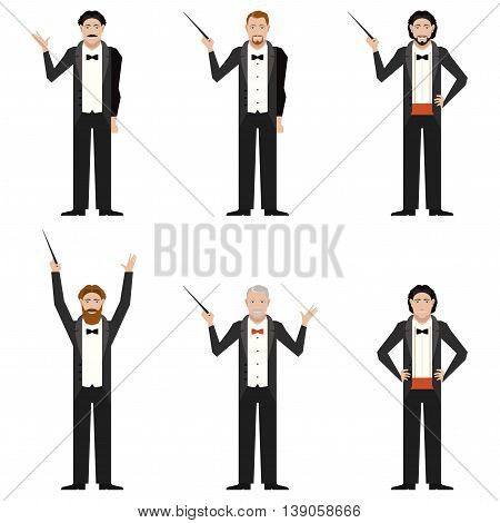 Vector image of the set of conductors flat icons