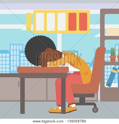 An african-american woman sleeping at workplace on laptop keyboard and low power battery sign over her head. Business woman sleeping in office. Vector flat design illustration. Square layout.