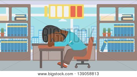 An african-american man sleeping at workplace on laptop keyboard and low power battery sign over his head. Man sleeping in the office. Vector flat design illustration. Horizontal layout.