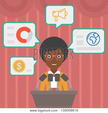 An african-american speaker standing on a podium with microphones at business conference. Woman giving speech at podium and speech squares around her. Vector flat design illustration. Square layout.