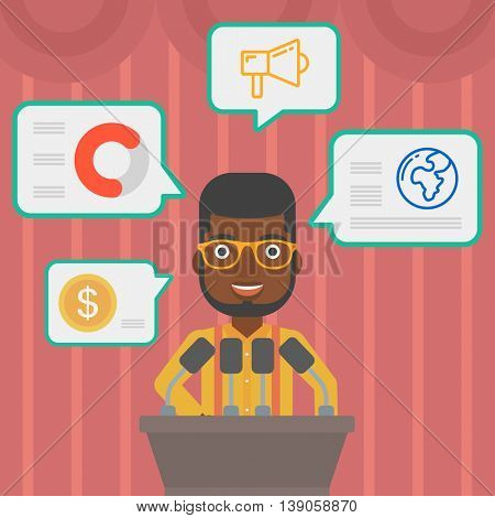 An african-american speaker standing at podium with microphones at business conference. Speaker giving speech at podium and speech squares around him. Vector flat design illustration. Square layout.