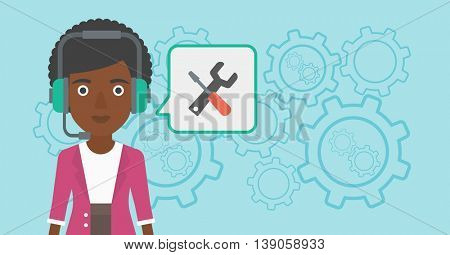 An african-american operator of technical support wearing headphone set. Technical support operator and speech square with screwdriver and wrench. Vector flat design illustration. Horizontal layout.
