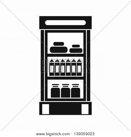 Products in the supermarket refrigerator icon in simple style isolated vector illustration