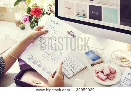 Online Shopping Receipt Paper Desk Concept