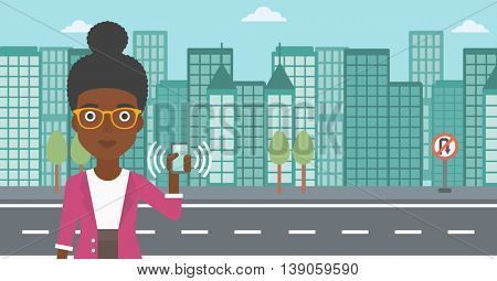 An african-american woman holding ringing mobile phone on a city background. Woman answering a phone call. Woman with ringing phone in hand. Vector flat design illustration. Horizontal layout.