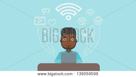 An african-american man working on a laptop and social computer network icons above him. Vector flat design illustration. Horizontal layout.