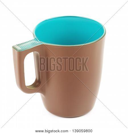 original brown coffee mug, isolated on white background