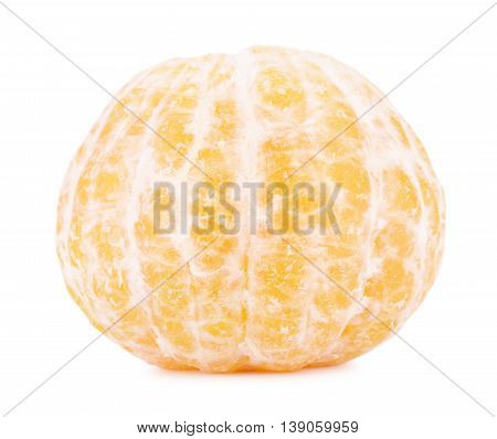 fresh peeled mandarine, isolated on white background