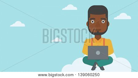 An african-american man sitting on a cloud with a laptop on his knees. Happy man using cloud computing technology. Cloud computing concept. Vector flat design illustration. Horizontal layout.