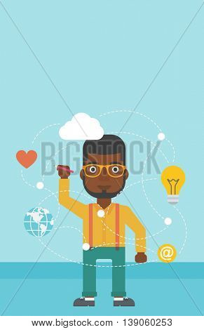 An african-american man writing on a virtual screen. Businessman drawing a cloud computing diagram on a virtual screen. Cloud computing concept. Vector flat design illustration. Vertical layout.