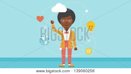 African-american woman writing on a virtual screen. Business woman drawing a cloud computing diagram on a virtual screen. Cloud computing concept. Vector flat design illustration. Horizontal layout.