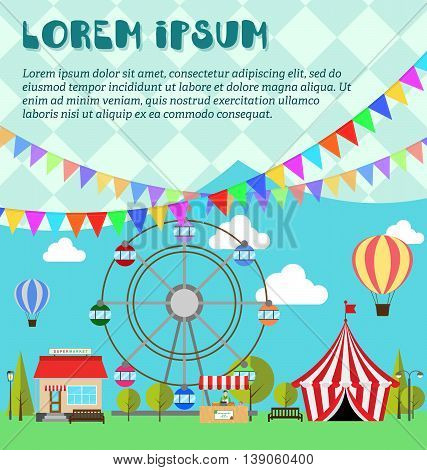 Invitation card for amusement park winter market festival or fair. Ferris wheel balloon in the sky supermarket circus flags outdoor and vegetarian market in flat style vector illustration