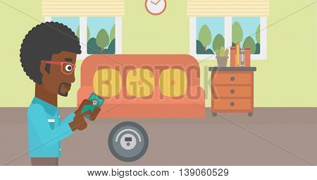 An african-american man controlling robotic vacuum cleaner with his smartphone in the living room. Vector flat design illustration. Horizontal layout.