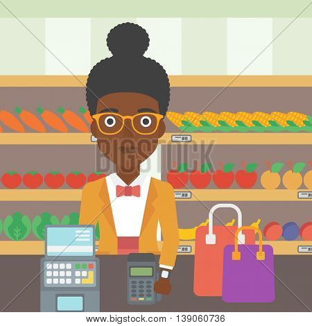 An african-american woman paying wireless with her smart watch at the supermarket. Female customer making payment for purchase with smart watch. Vector flat design illustration. Square layout.