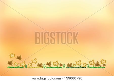 Autumn colorful leaves on ground as background - space for your text